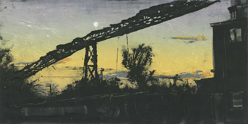 """Transit Mixed Concrete, Northampton MA 2015 12""""x24"""" Three Stage Monotype  In the   Prints & Photographs  Collection at The Boston Athenæum"""