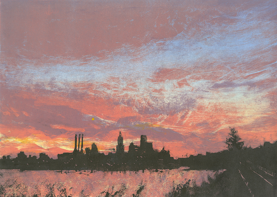 """Sunset - Providence, RI2015 10""""x14"""" Four Stage Monotype  Sold"""