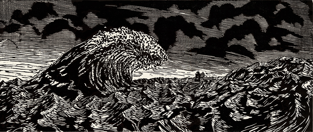 """Tides 2014  W  oodcut Print   10""""x24""""  Edition of 3"""