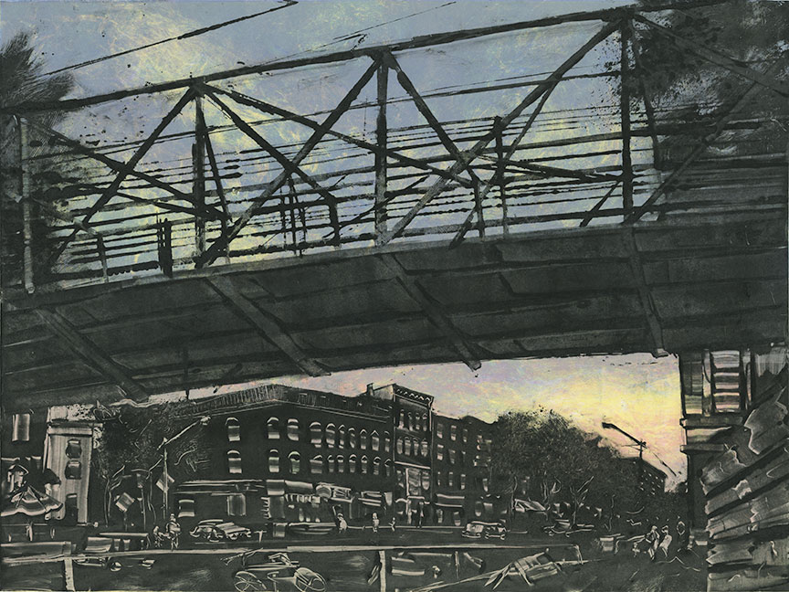 """Bridge St. Northampton MA 2015 18""""x24""""Three Stage Monotype  In the   Prints & Photographs  Collection at The Boston Athenæum"""