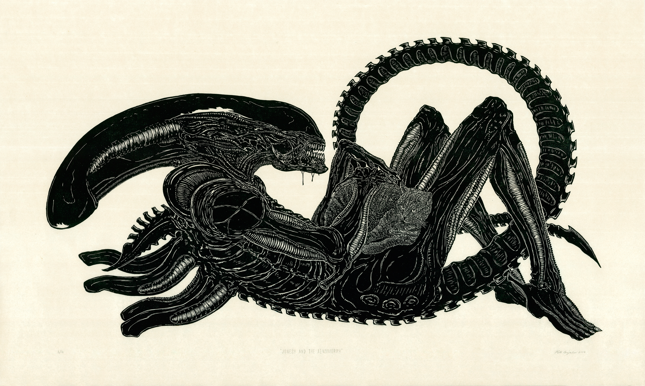 """Jonesy and the Xenomorph 2016   Woodcut Print on Paper  Print Measurement: 24"""" x 45"""" Paper Dimensions: 30"""" x 50"""" Edition of 12"""