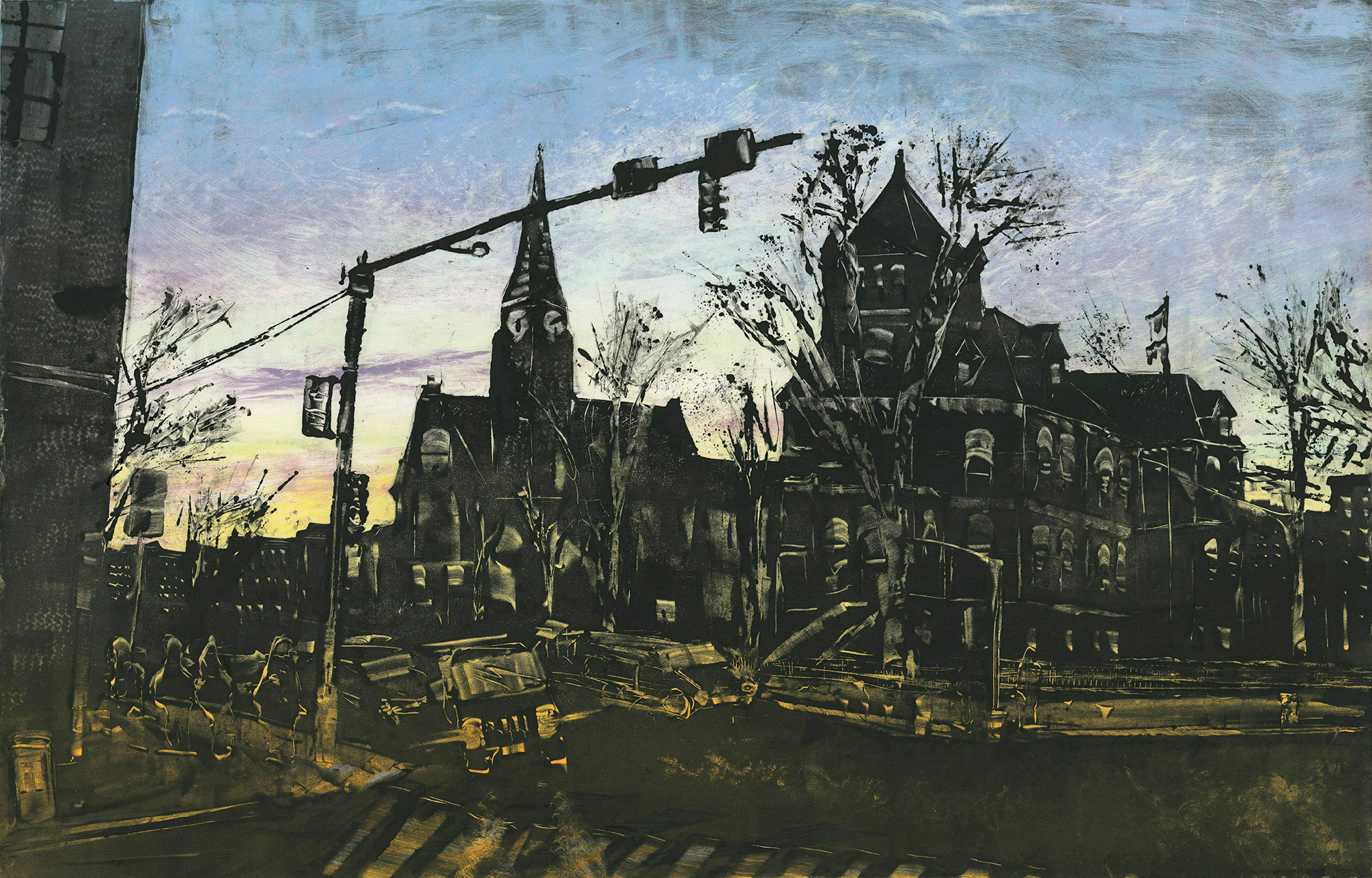 """Main St. Northampton, MA 2015 18""""x28"""" Three Stage Monotype  In the   Prints & Photographs  Collection at The Boston Athenæum"""