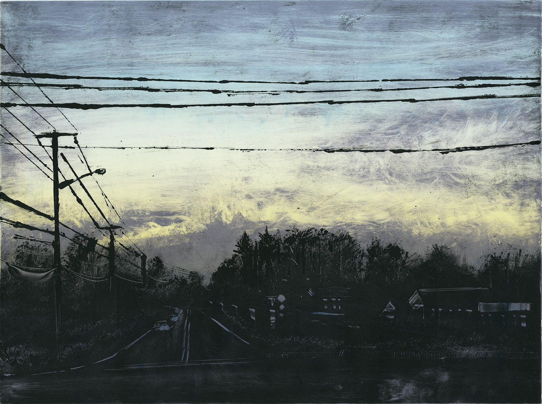 """Dawn - Russell St, Hadley, MA 2014 18""""x24"""" Three Stage Monotype  In the Prints & Photographs Collection at The Boston Athenæum"""