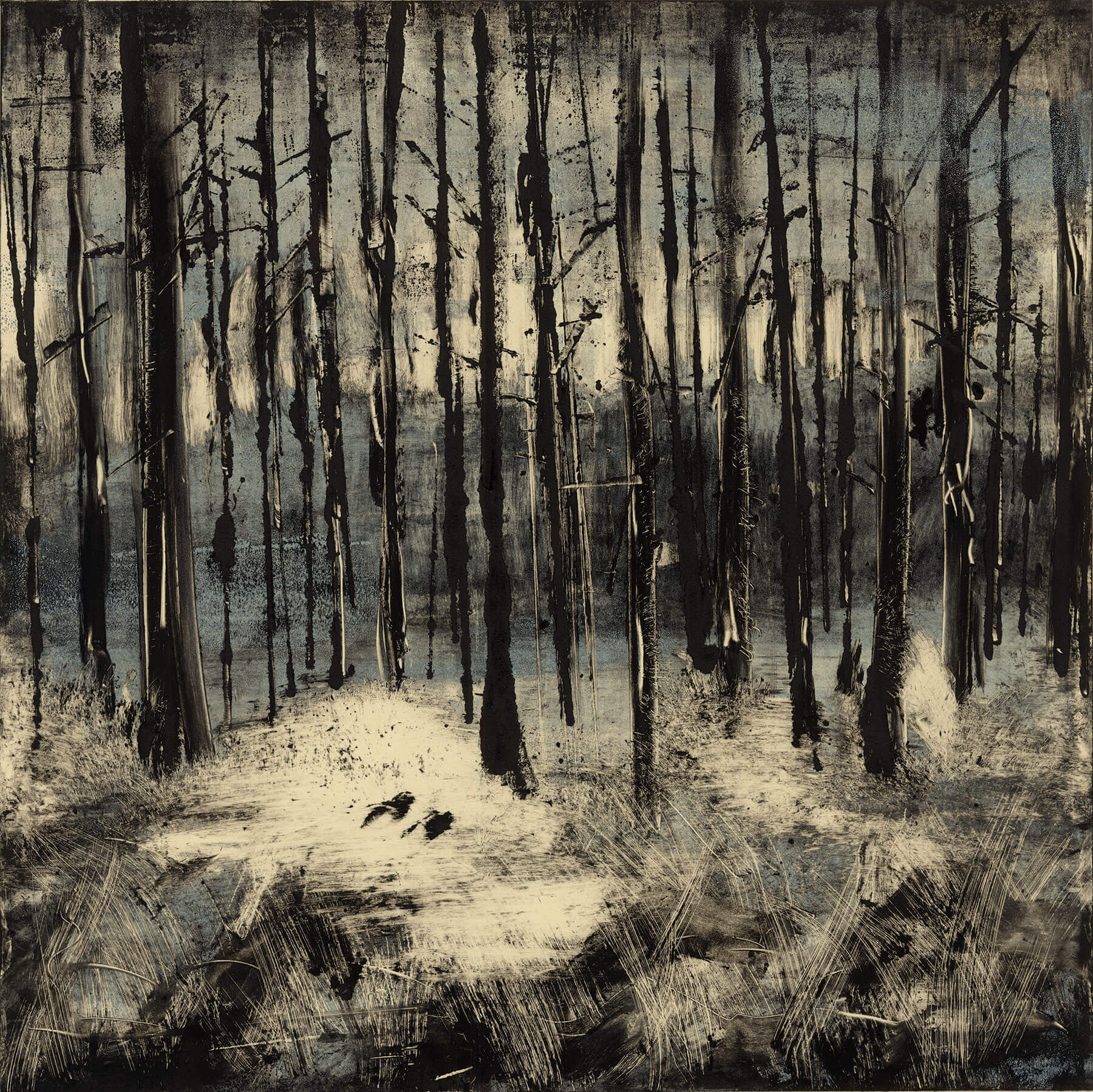 """Trees 2014 18""""x18"""" - Two Stage Monotype"""