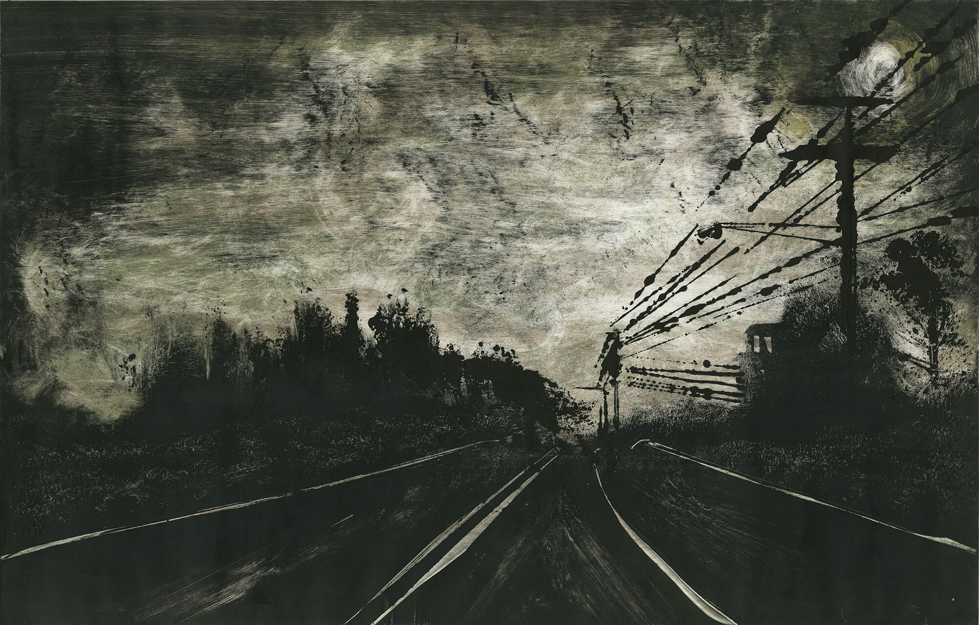 """Moody Rd. Enfield, CT 2014 18""""x28"""" Two Stage Monotype"""