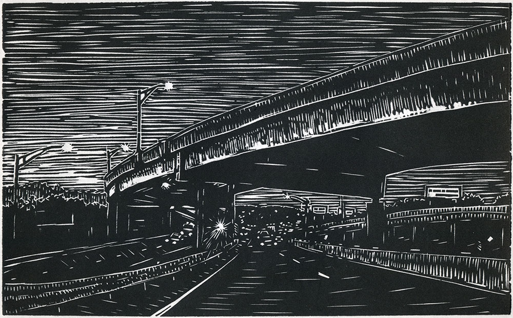 "Springfield, MA I-91N, 2017 5"" x 8"" Linocut Print on Paper Edition of 30"