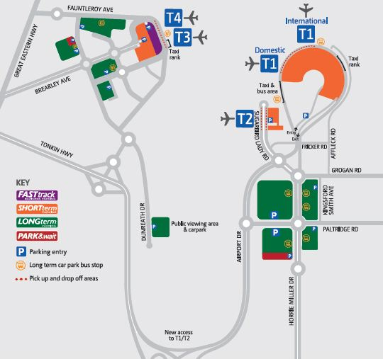 Map showing T1, T2, T3 and T4 Terminals