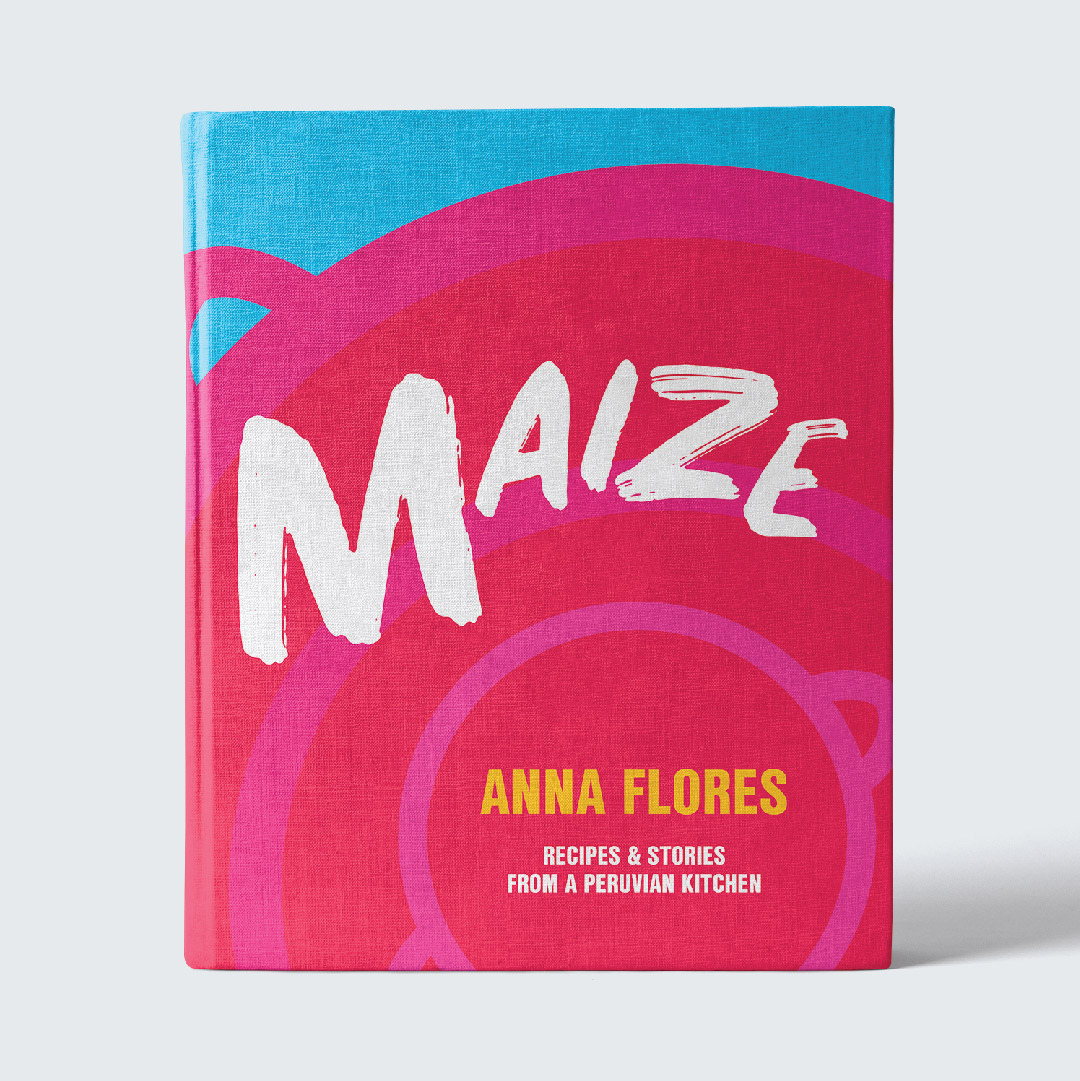 MAIZE    Maize  is a mockup of a Peruvian cookbook. The cover was designed to evoke feelings of Peruvian culture and cuisine. The abstract nature of the cover is designed to fit into the high-end contemporary cook book market. The job was to create a cover to align with the following sales handle: Through vivid recipes and stories, Maize chronicles Peruvian chef Anna Flores' journey from Chimbote to Chicago.