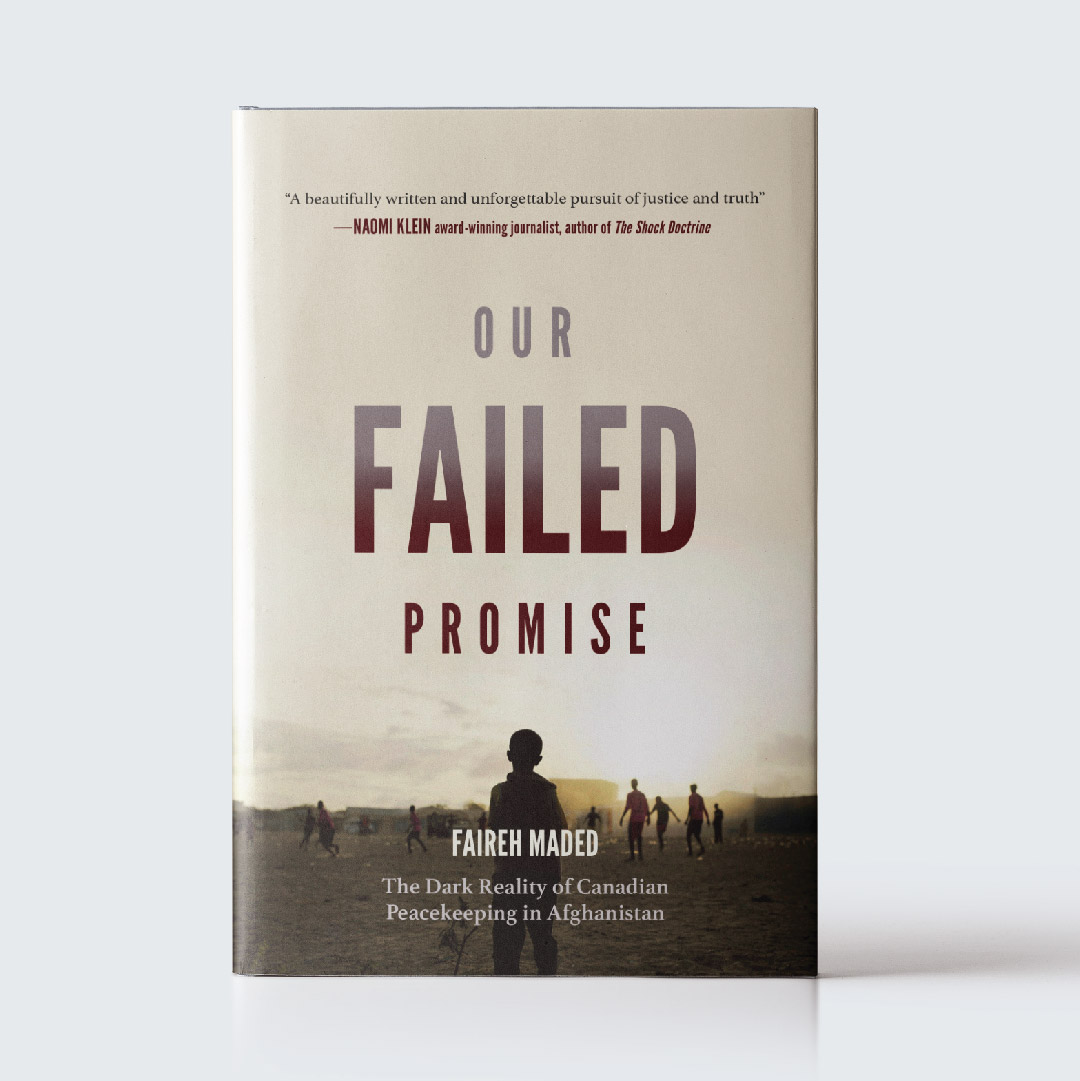 "OUR FAILED PROMISE   This book cover was a fully realized mock project with complete jacket cover for a hard cover non fiction title. The goal was to create a cover for a book with the following sales handle: ""In his groundbreaking new book, Faireh Maded exposes a cover-up that extends from a war torn village in Afghanistan to the Canadian Parliament, confronting a national identity built on myth."