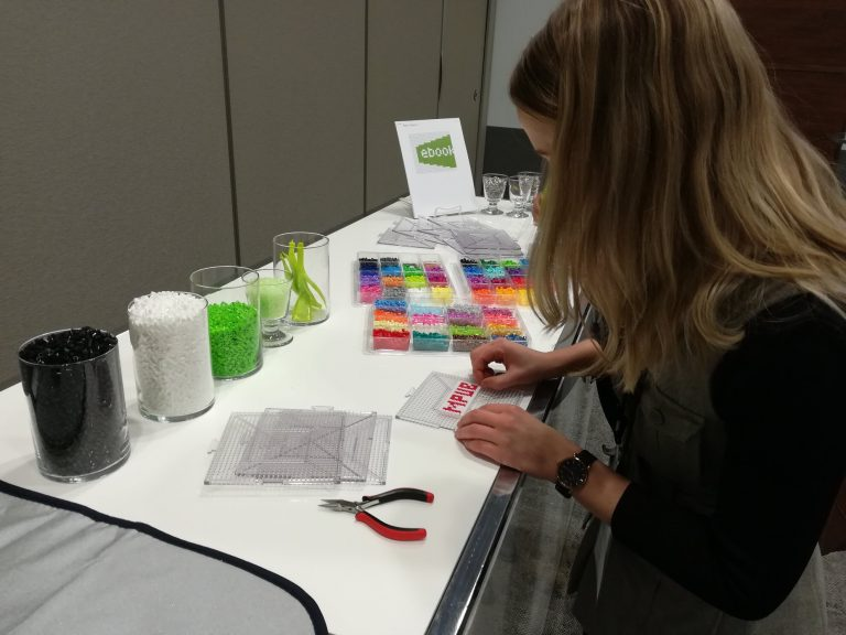 Perler bead sign station at ebookcraft. Photo by Yvonne Bambrick