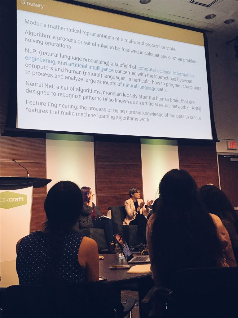 Wendy Reid (Left), Senior QA Analyst at Kobo moderating a panel on AI, speaking with Monica Landers, CEO at StoryFit.