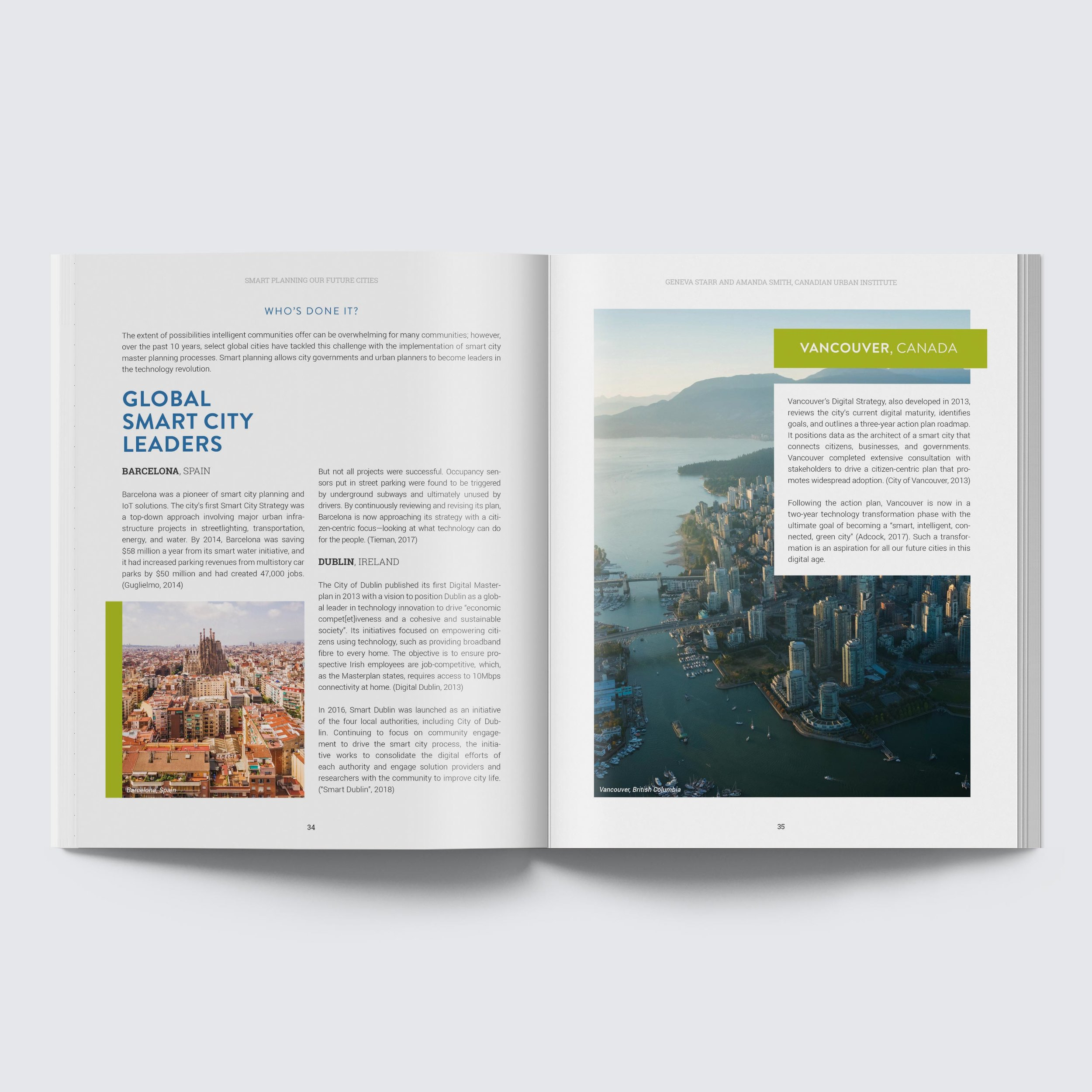 Interior layout design for the 2018 Evergreen Canada, Mid-Sized Cities Research Report.
