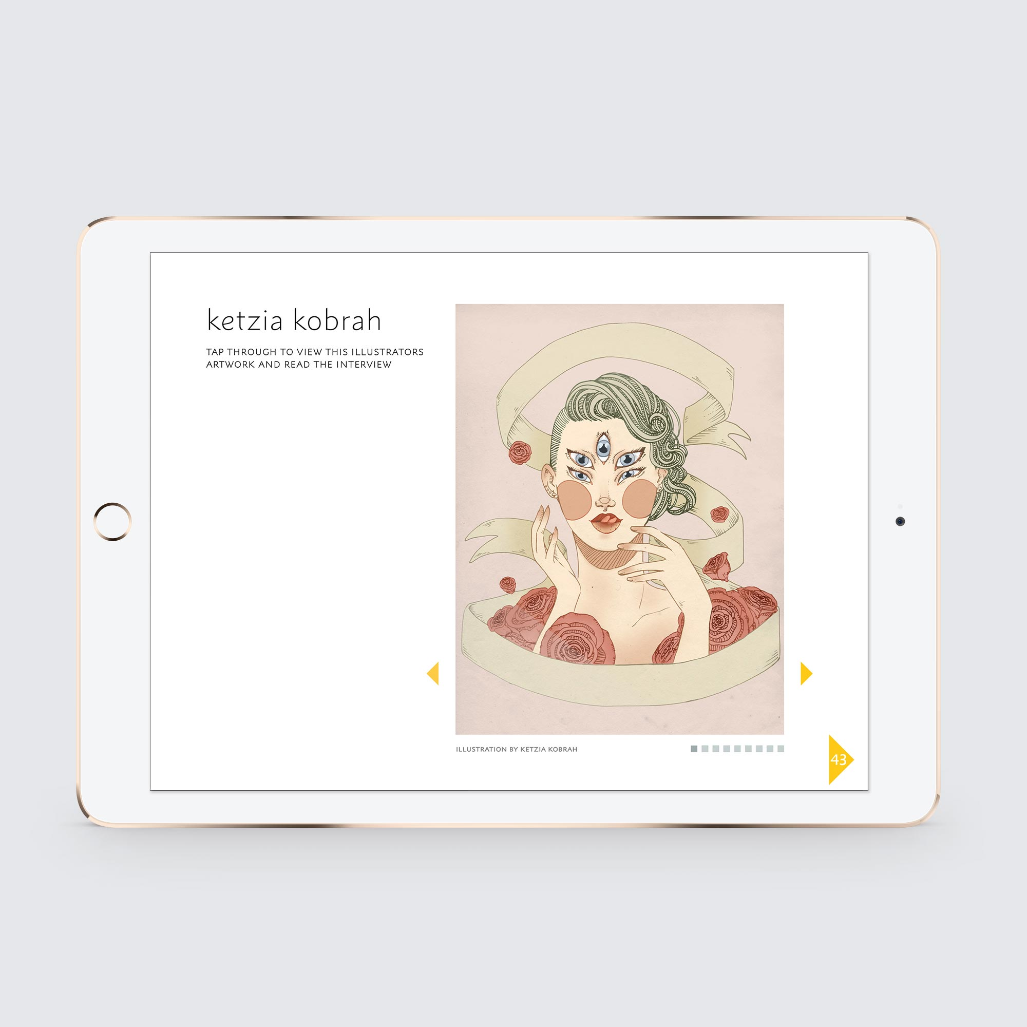 This is a layout for the digital version of the printed  Contour, The Fashion Illustration Journal  was created for the Apple iPad and is available on Apple iBooks  here .