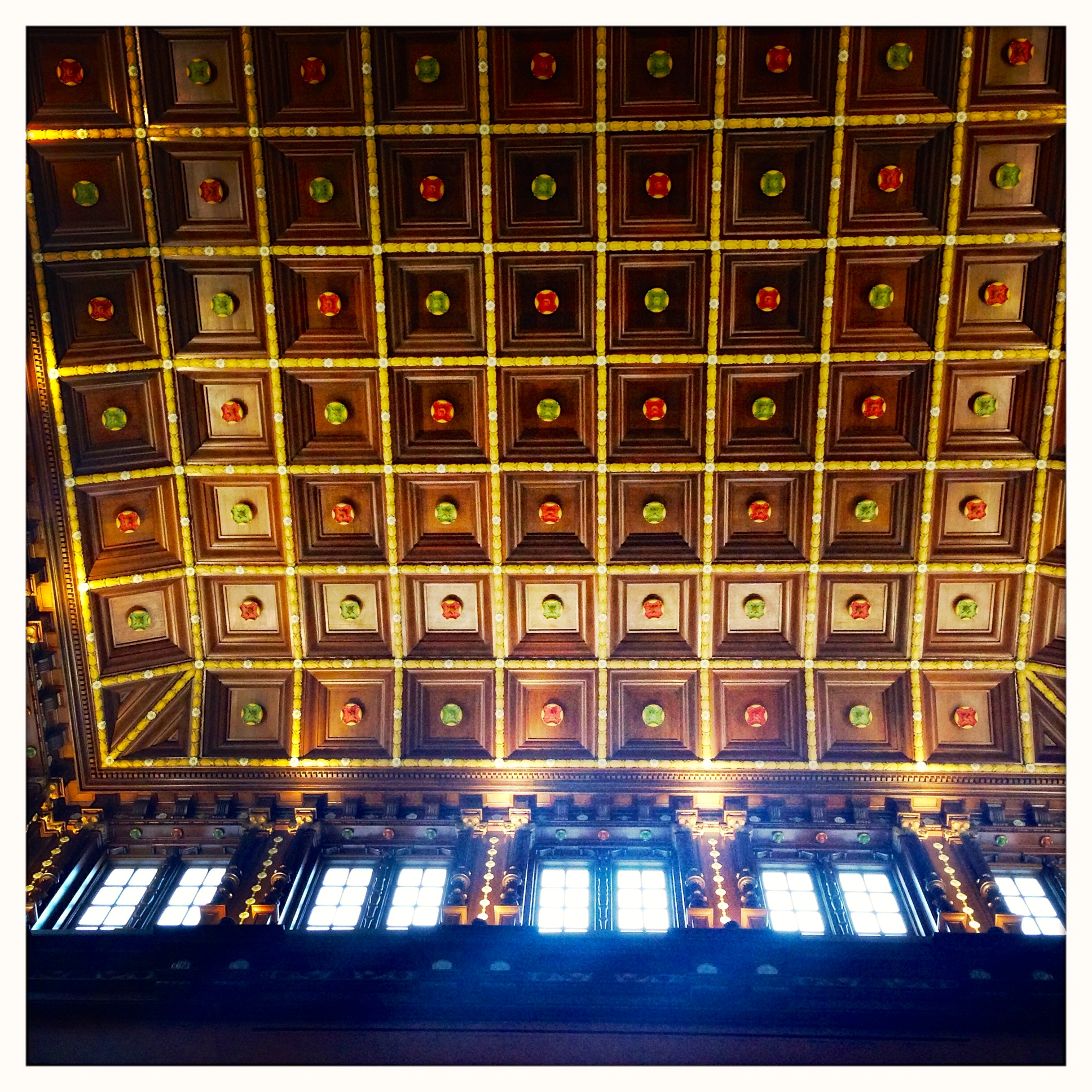 The ceiling of the Tudor Gallery.