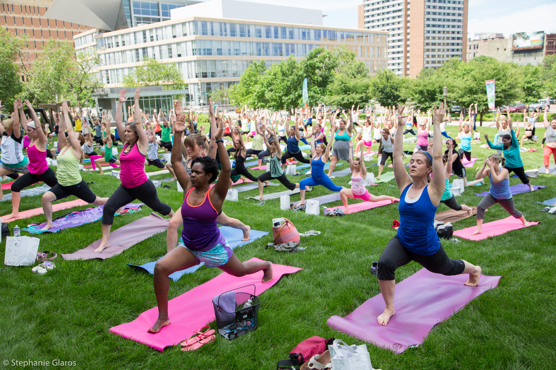 Yoga Rocks the Park outdoor yoga event, Minneapolis