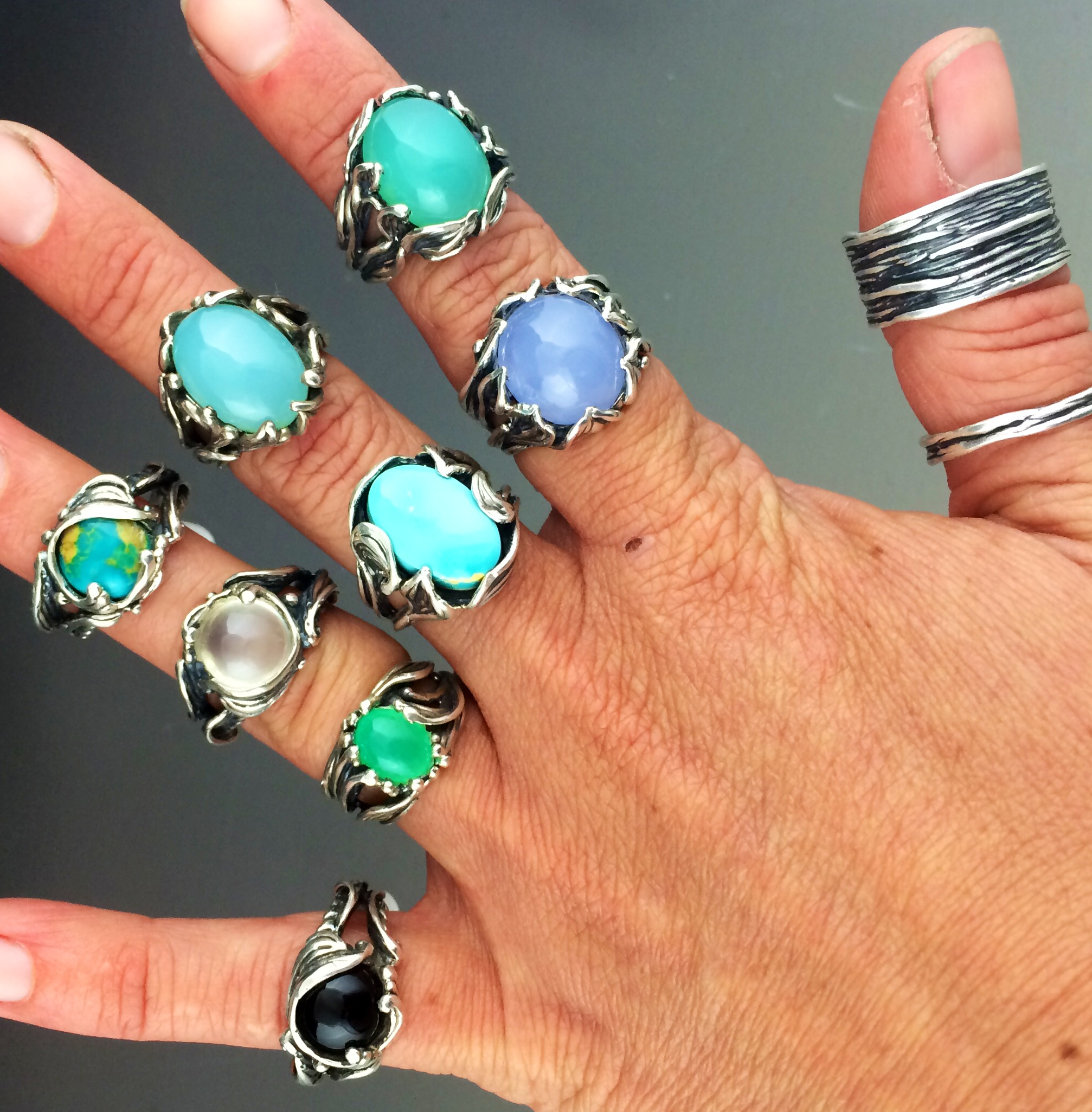 Handmade silver rings cleaned up and set with turquoise, cheysoprase, moonstone, onyx and blue chalcedony.