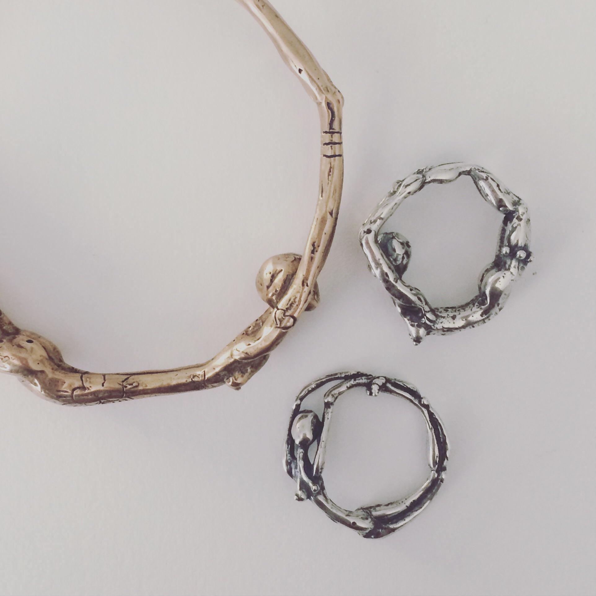 Dhanurasana - handmade, figurative yoga bracelets and rings by Crystal Hartman Art Jewelry