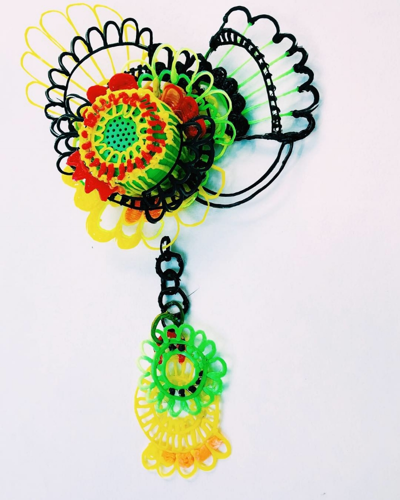 Recycled Plastic Brooch for Ambient Sound Adornment by Crystal Hartman