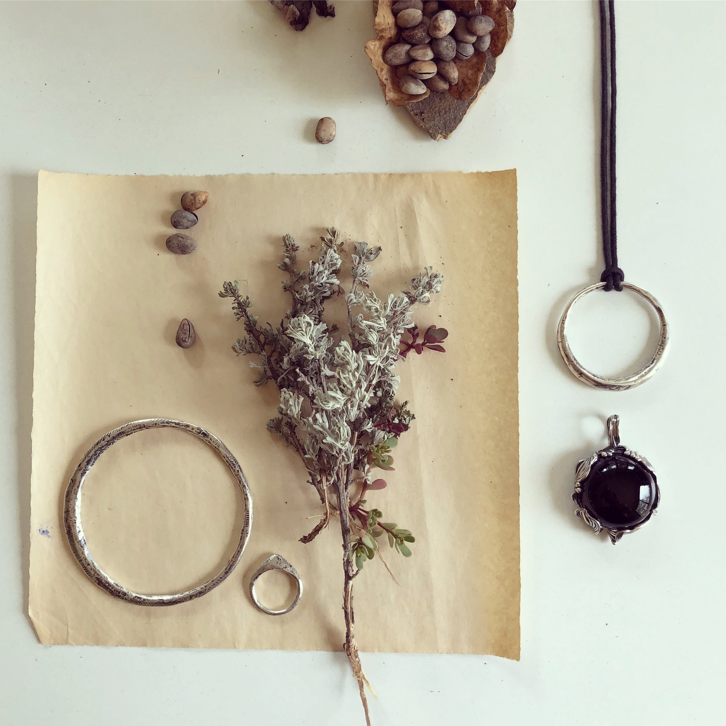 An offering of sage, piñon pine nuts, the moon, black onyx for grounding, a mountain, and leaves from my beloved Willowtail...