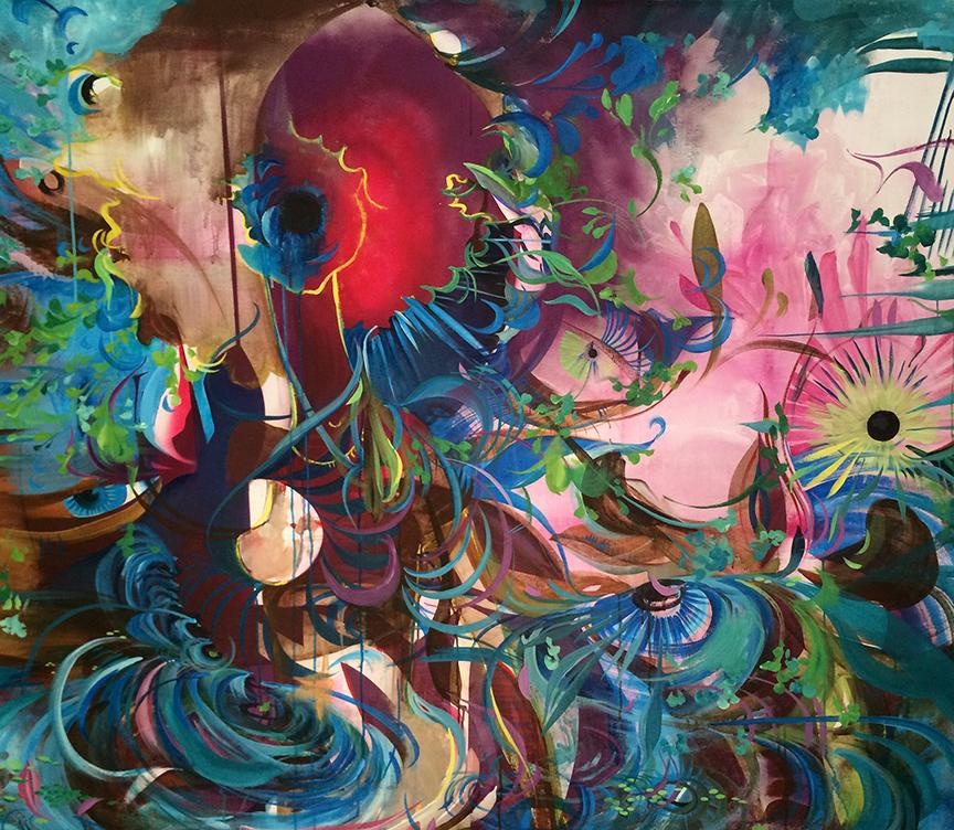 acrylic and ink on raw canvas, Crystal Hartman