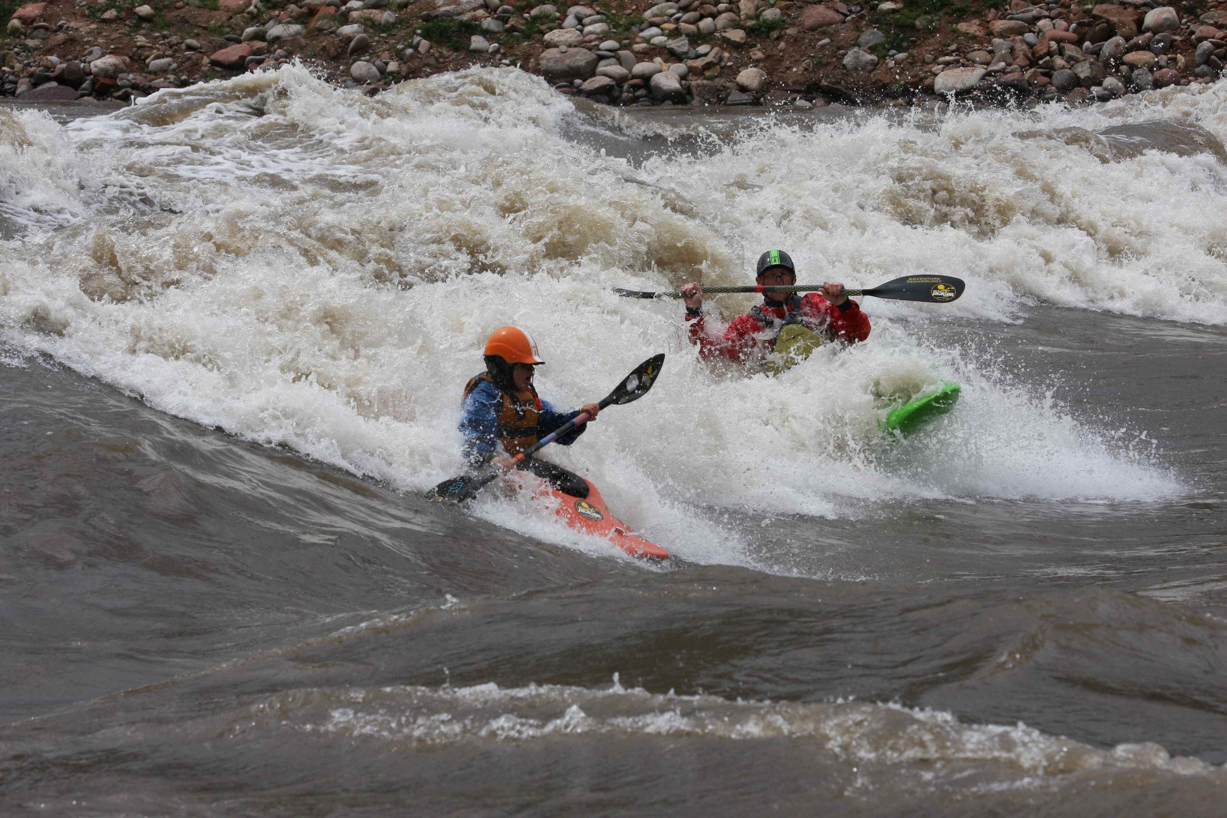 Sage and Dad on the Glenwood Wave