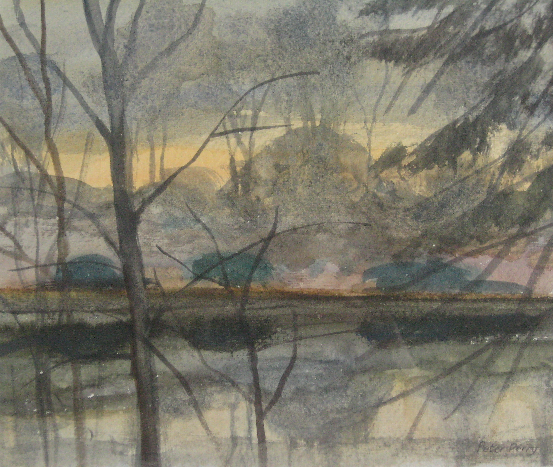 "REFLECTIONS , AUTUMN, NORMANDY  9X7.5"" (23X19cm)   Watercolour    Sold  Shortlisted for 2016 Royal Academy Summer Exhibition"