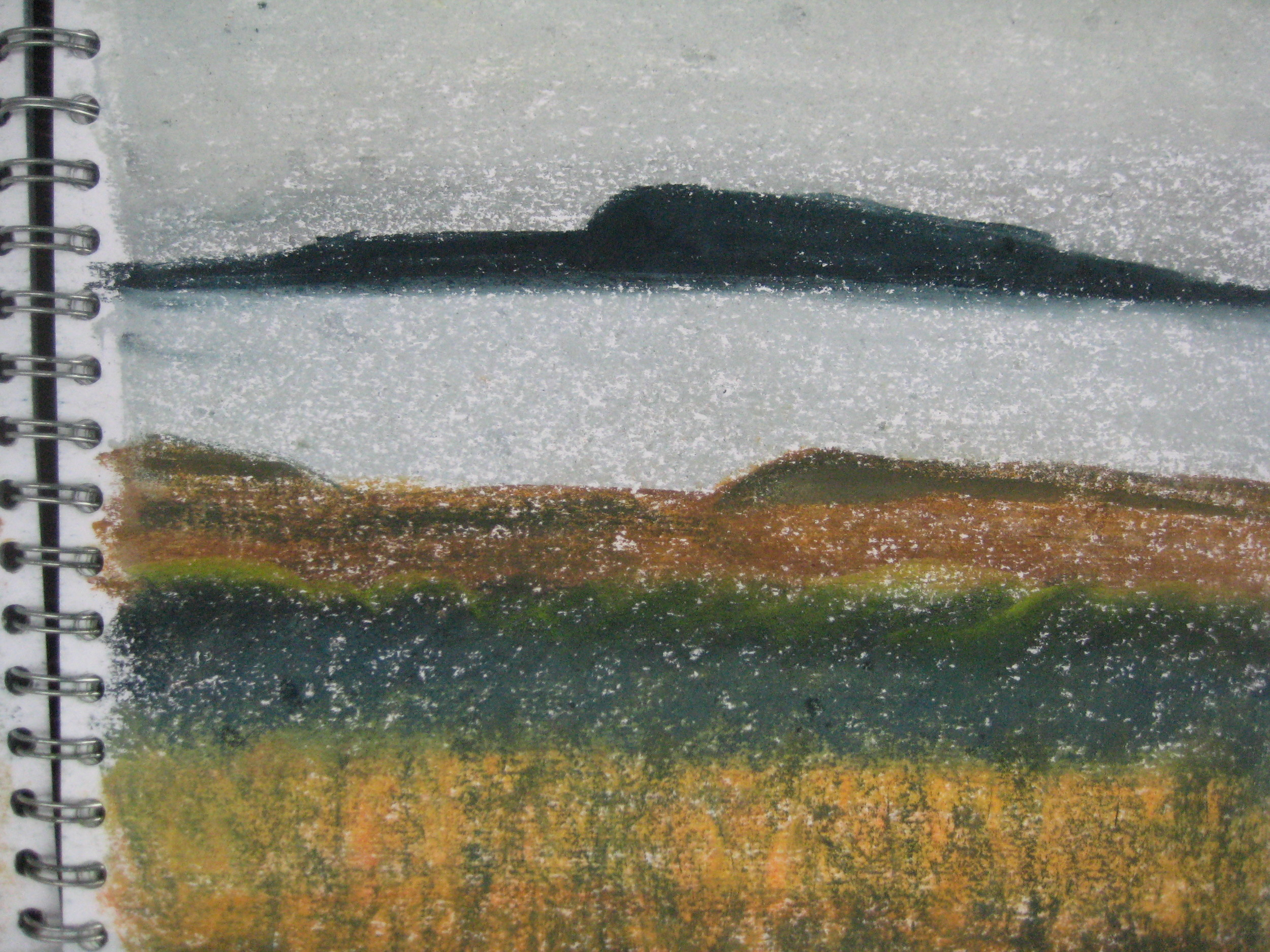 "NEAR BORGARNES, ICELAND  Approx 9X9"" (23X23cm)   Pastel on card"
