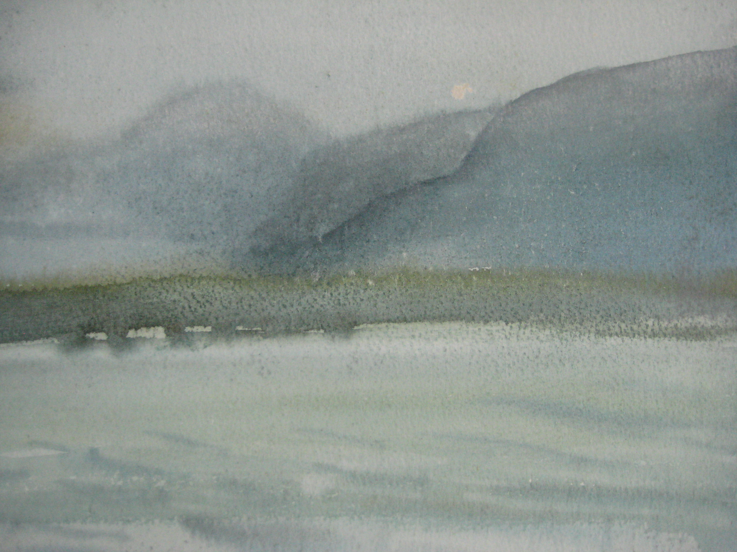 "NEAR BORGARNES, ICELAND, WET DAY  Approx 10X8.75"" (25X22cm)   Watercolour"