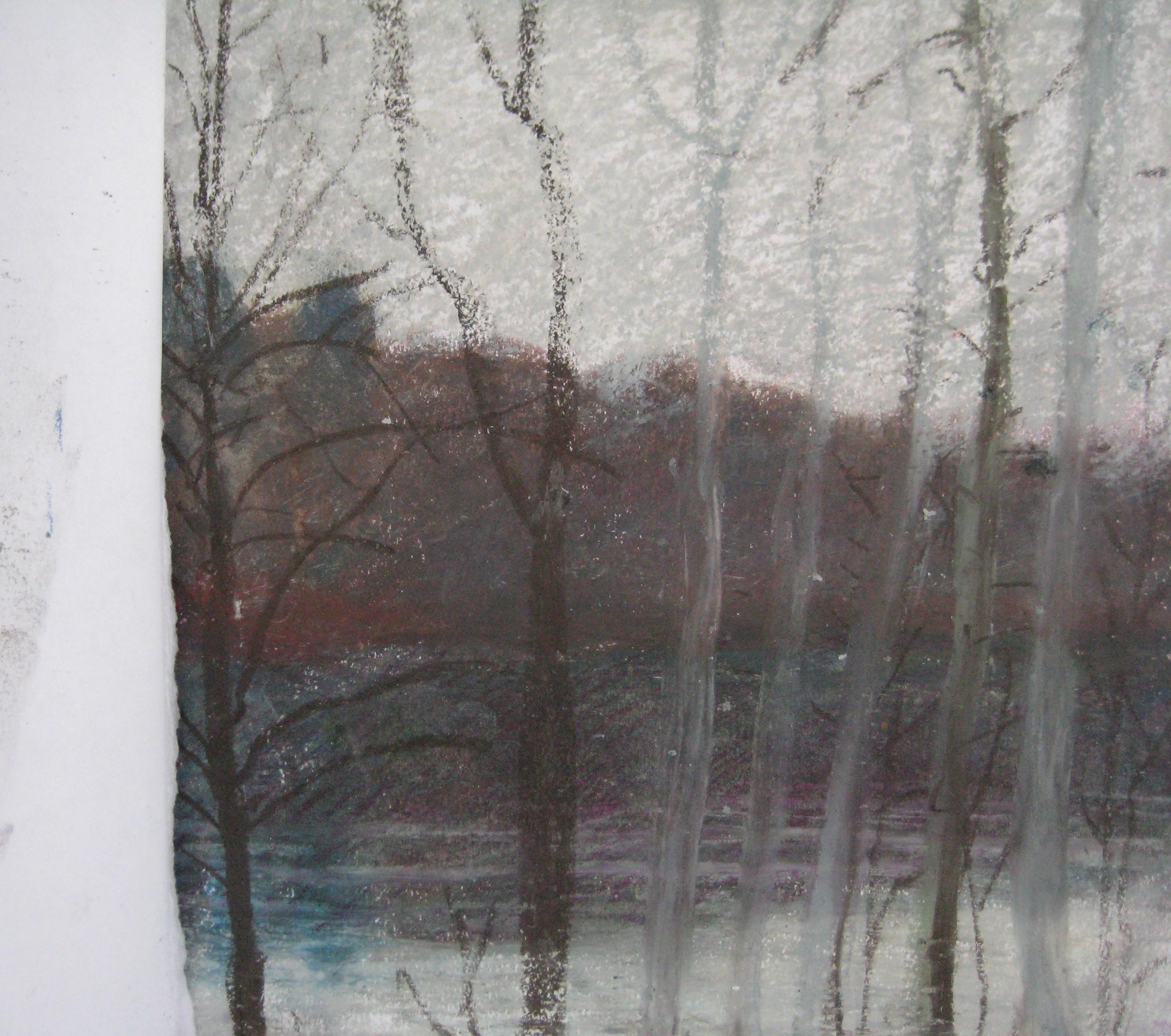 LAKE, NORMANDY  Oil pastel