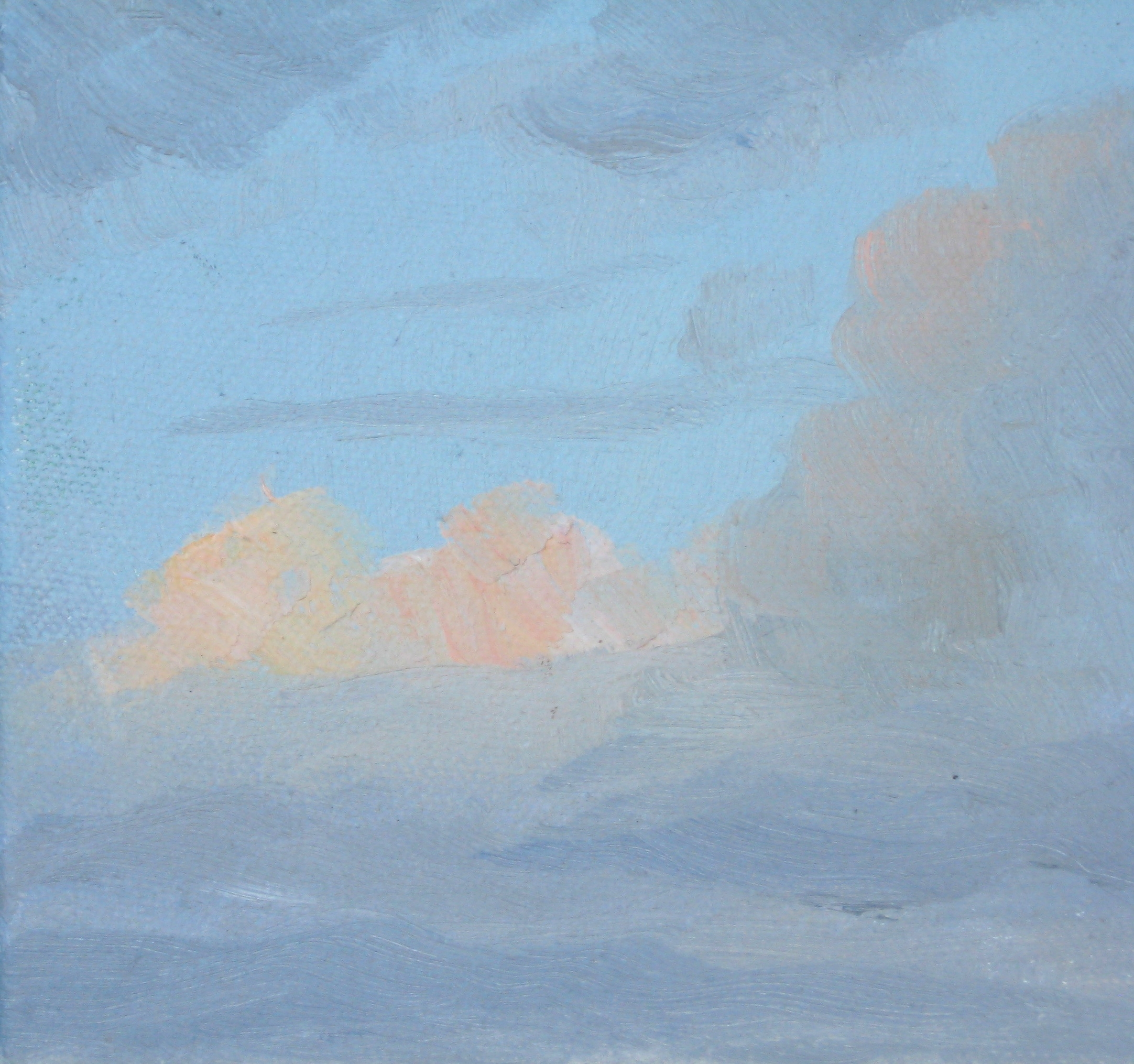 "SKY I  5X5X1"" (13X13X2.5cm)   Oil on canvas"