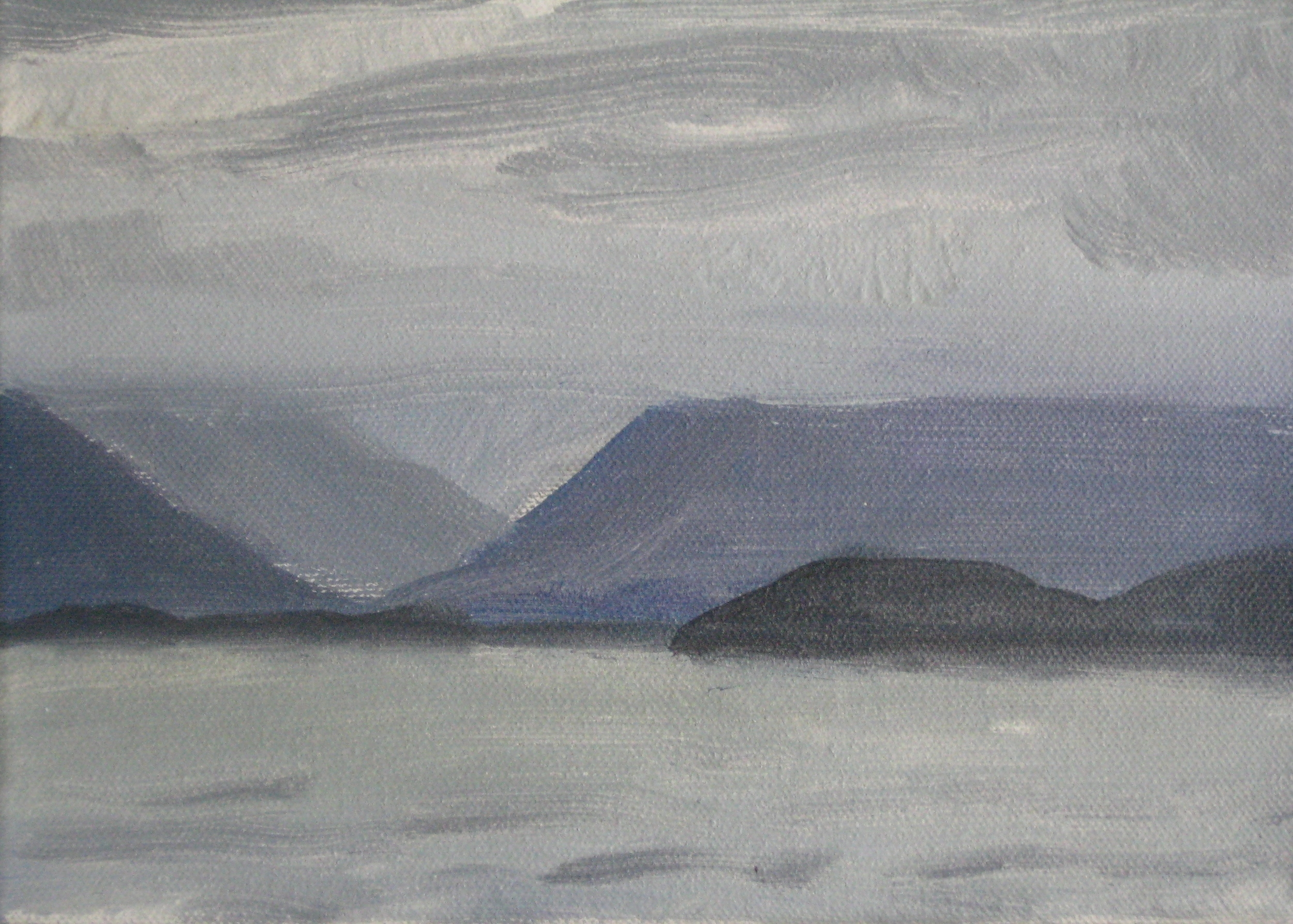 "WEST ICELAND 2  8X6"" (20X15cm)   Oil on canvas  Exhibited at 2016 ING Discerning Eye Exhibition, Mall Galleries, London"