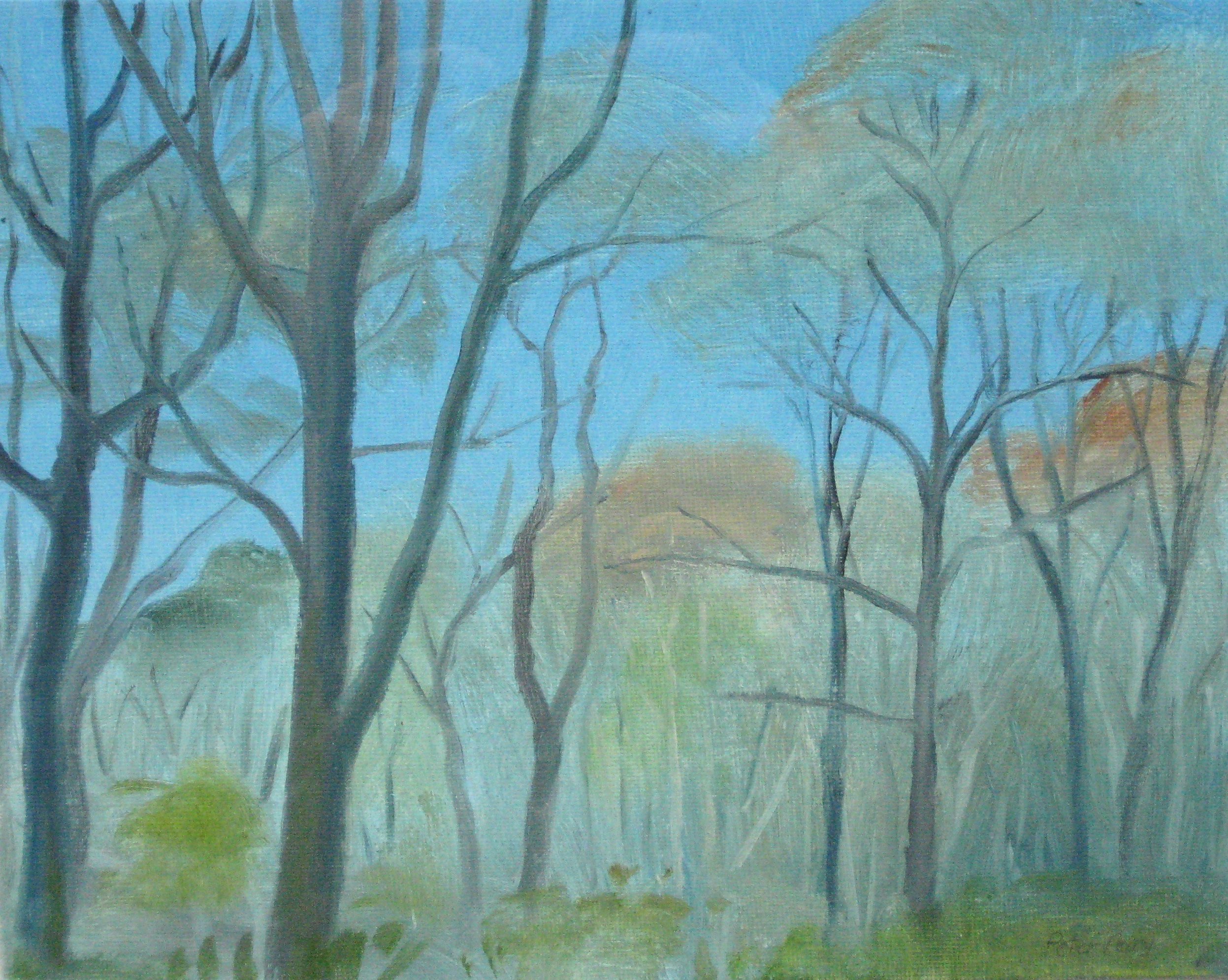 "TREVELLOE WOOD, EARLY SPRING II  8x10"" (20x25cm)  Oil on canvas board"