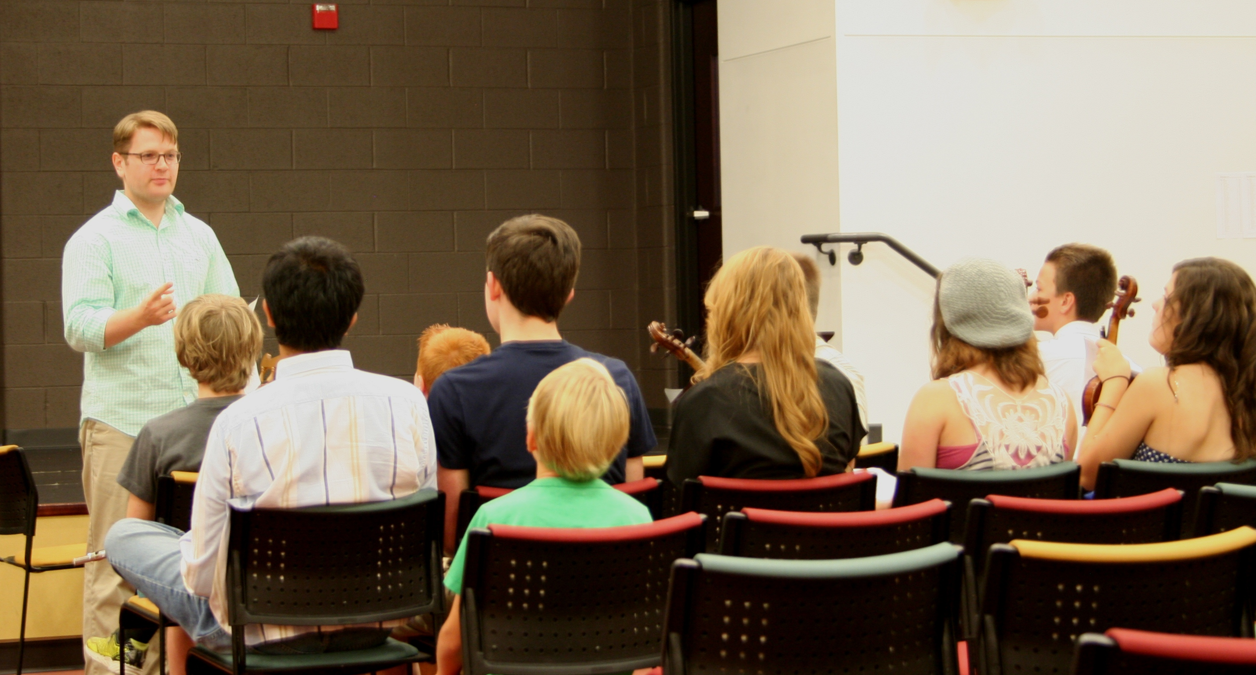 """Leading a masterclass with young composers in the York Symphony's """"My Opus Magnum"""" camp."""