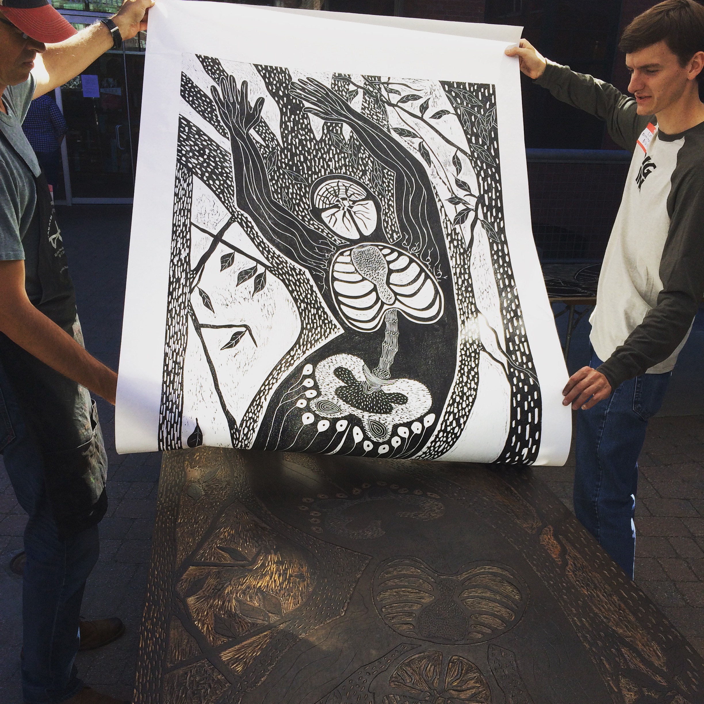 Pulling Debra Olin's Print Off Carved Woodblock.jpg