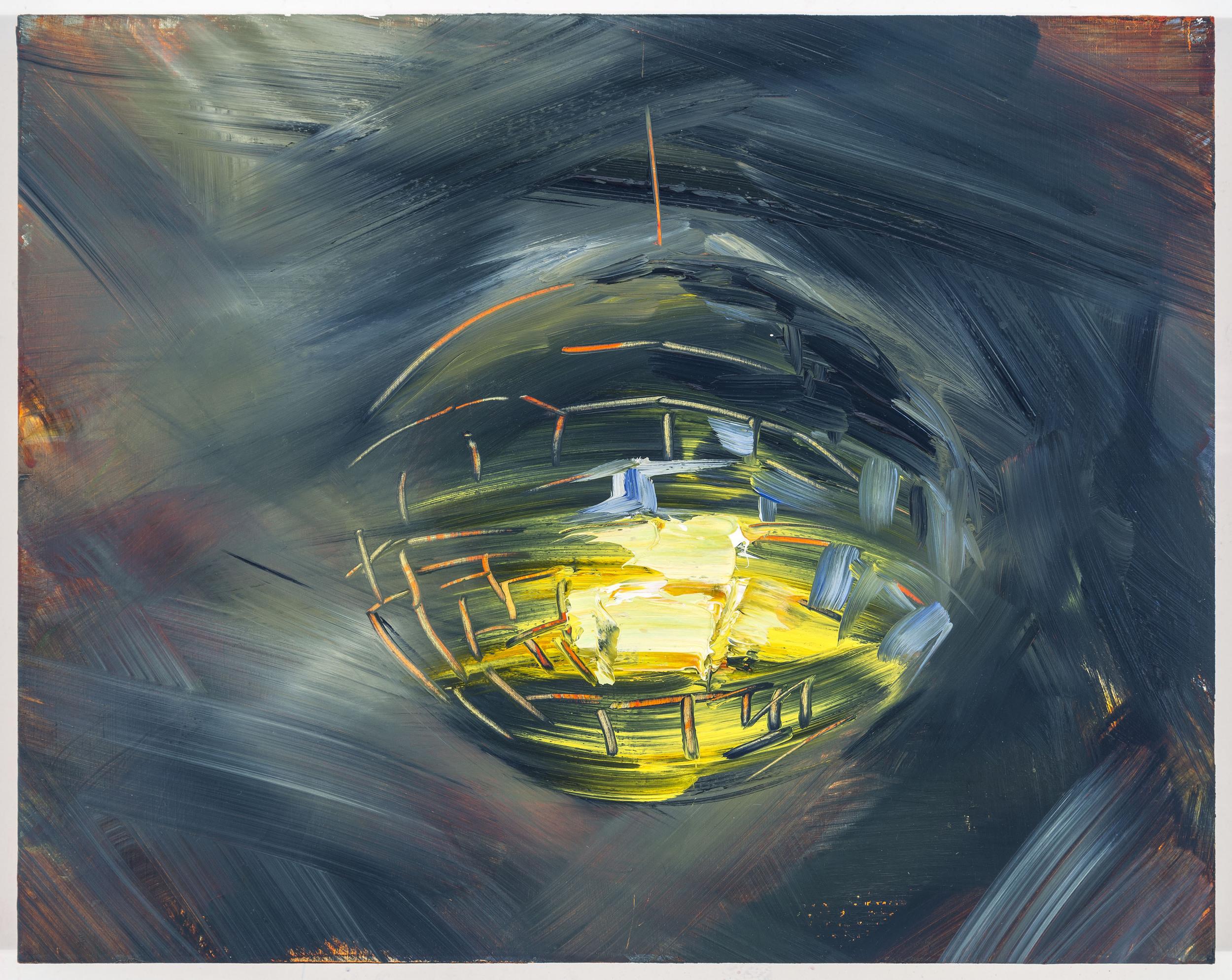"""Moon 2, 12""""x15"""", oil on panel, 2014"""