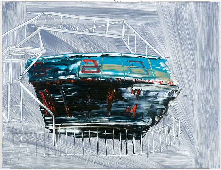 "Gravitron, 12""x15"", oil on panel, 2012"