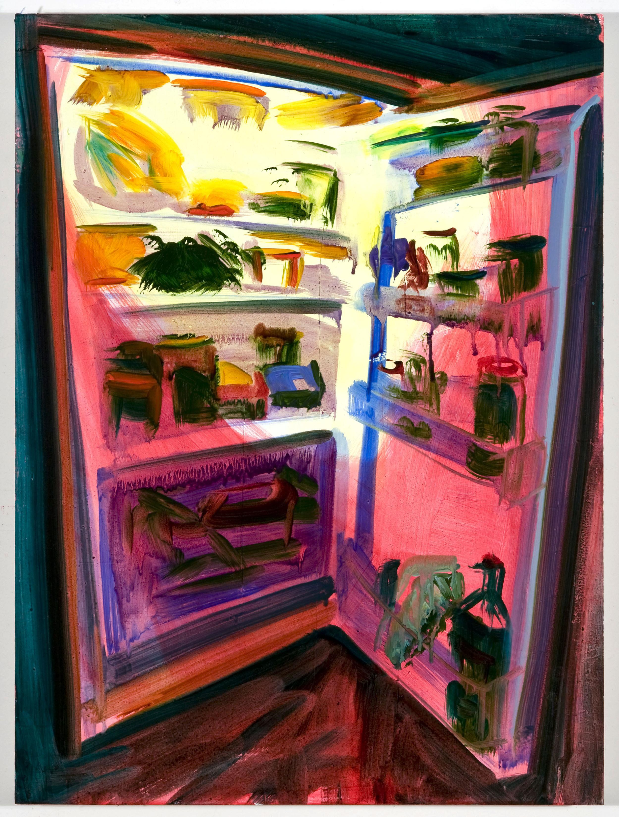 """Minifridge, 20""""x15"""", oil on panel, 2012"""