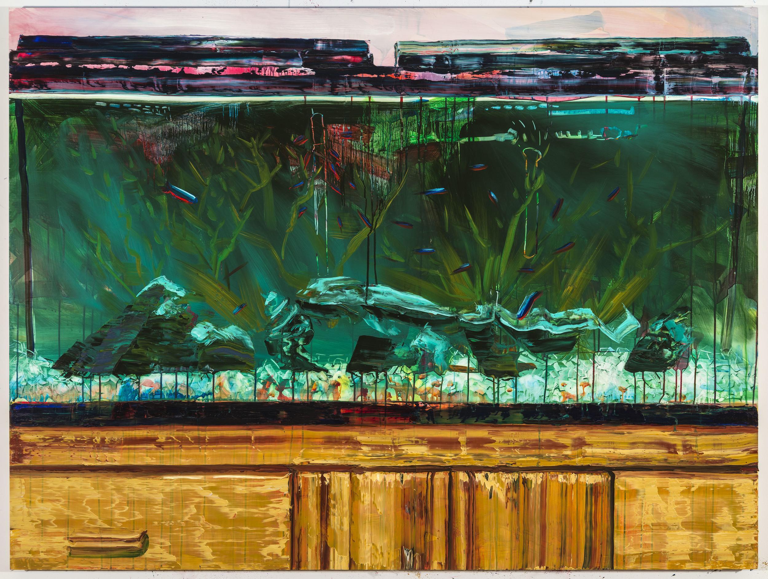 "Neons, 45""x60"", oil on panel, 2015"