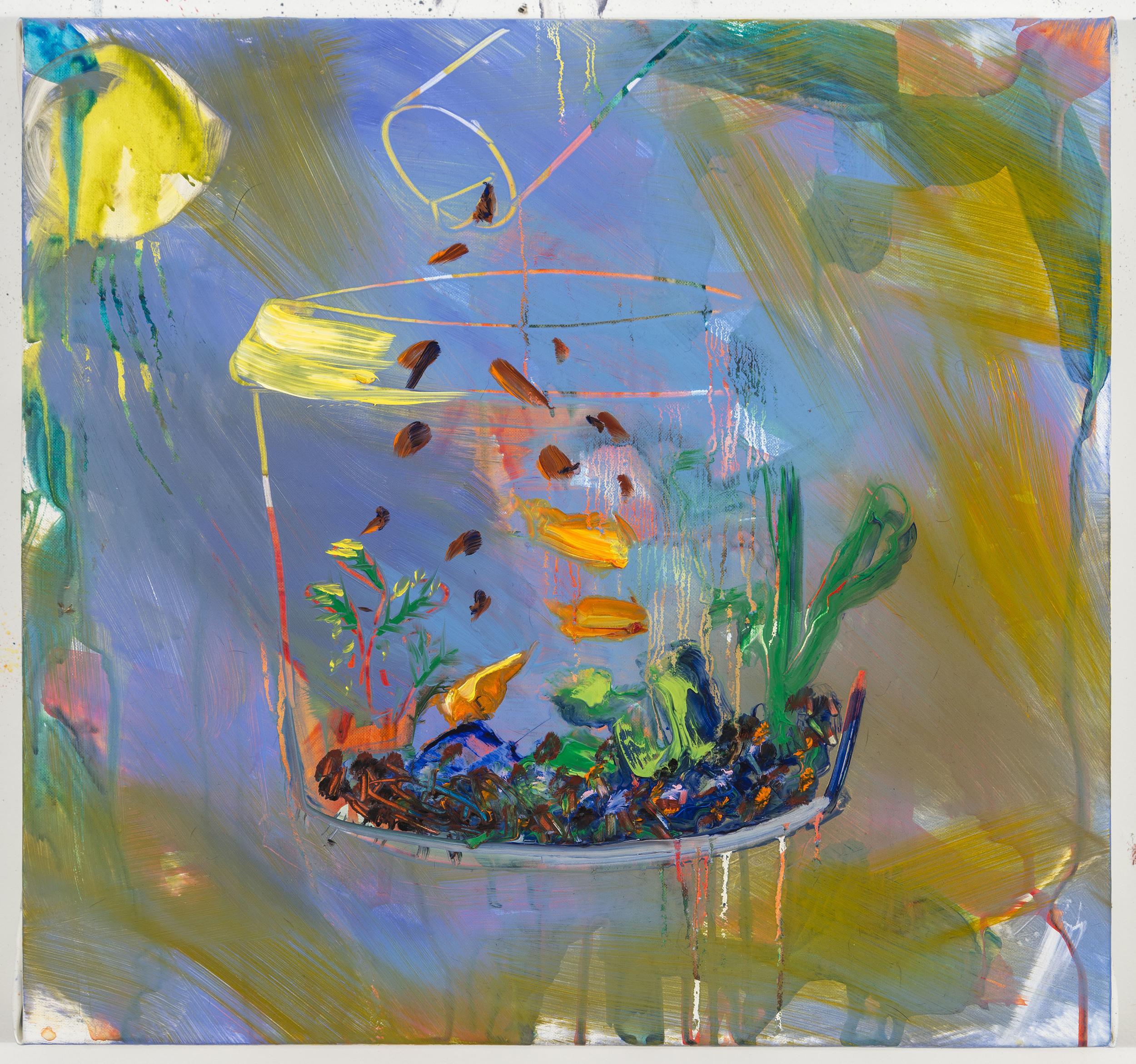 "Fish food, 12'X12"", oil on canvas, 2014"