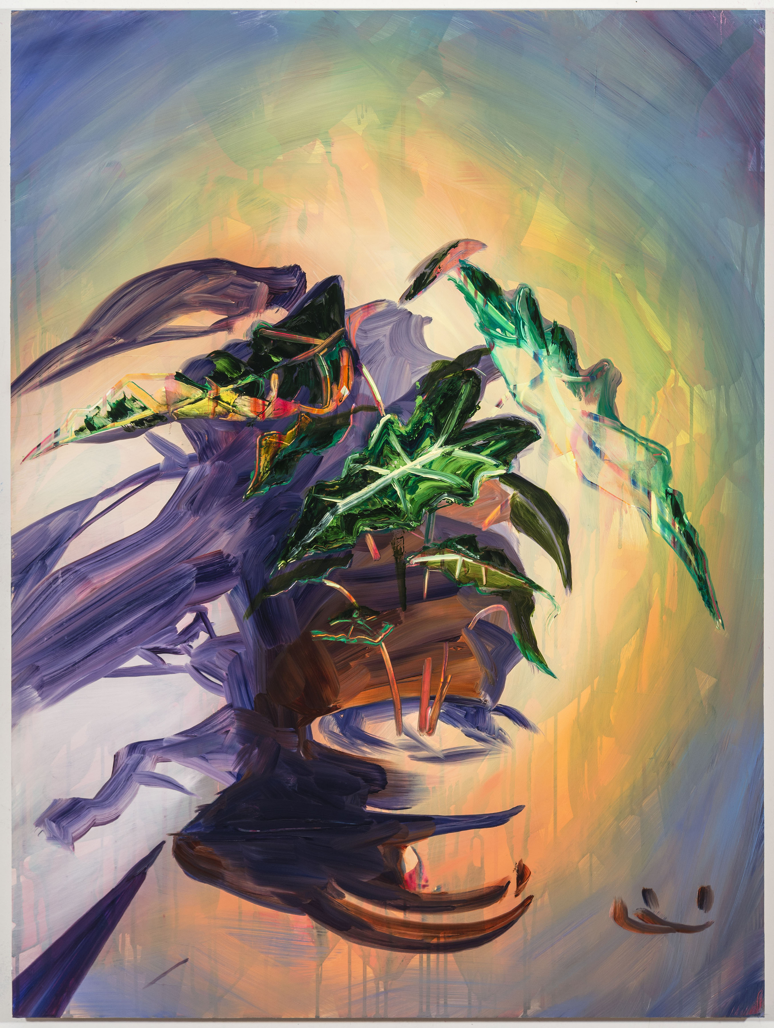 "Alocasia, 40""x30"", oil on panel, 2016"