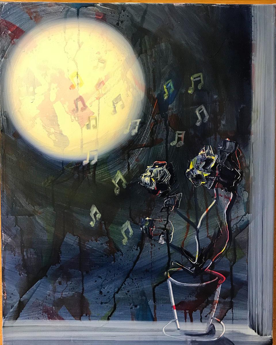 """moonsongs, 20""""x16"""", oil on canvas, 2017"""