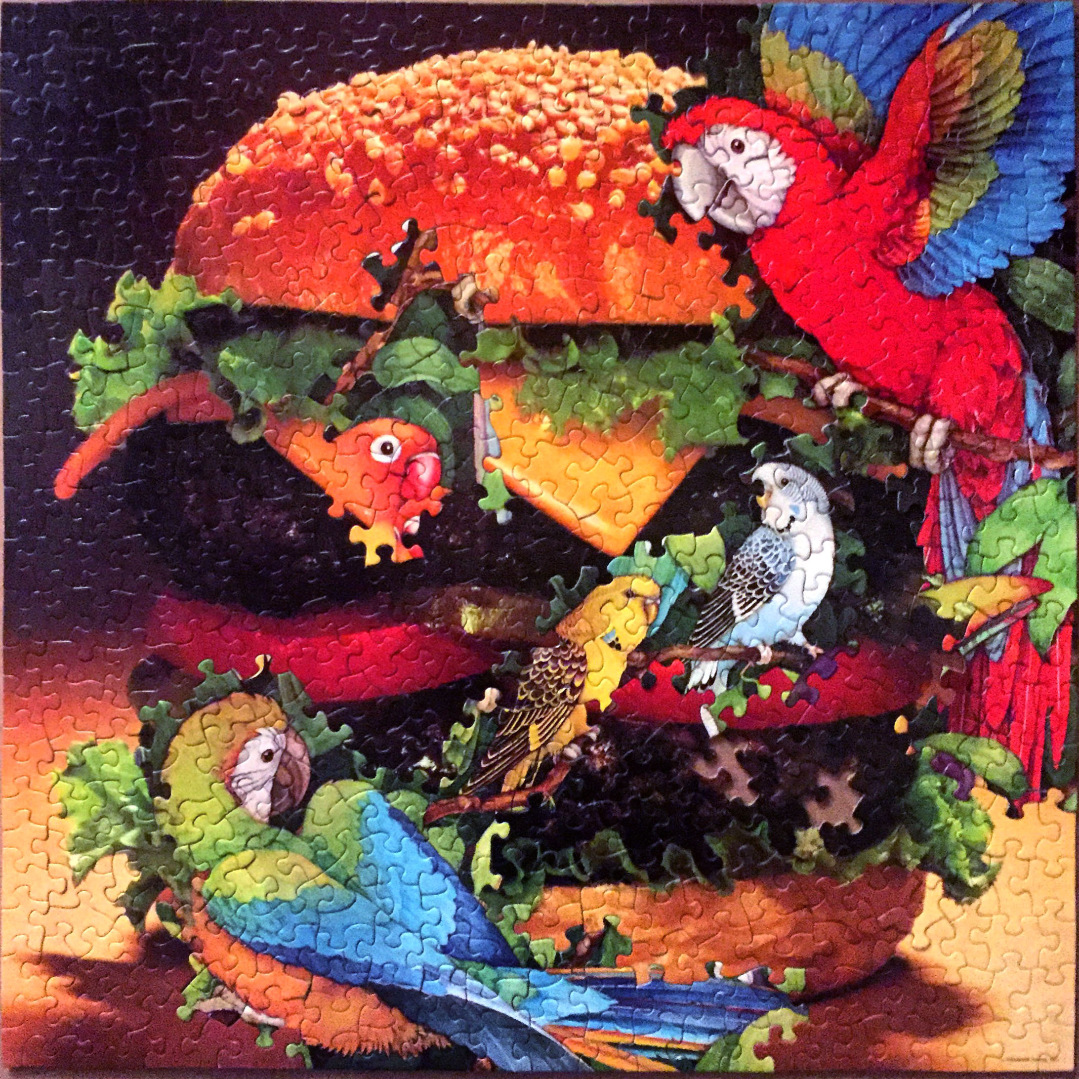 Parrot Burger Party, jigsaw puzzle collage, vintage jigsaw puzzles