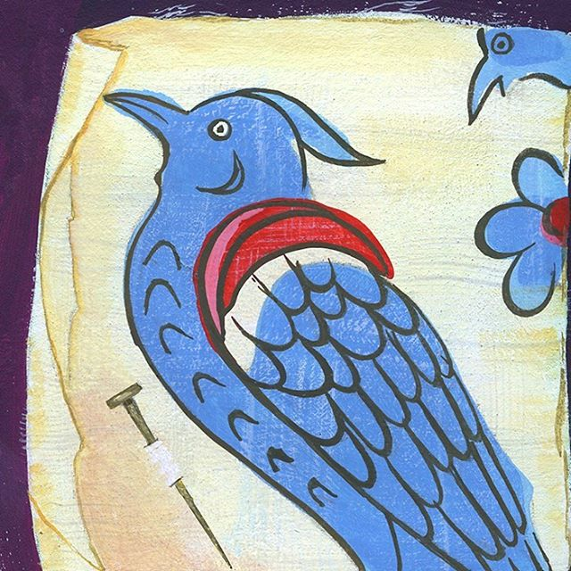 A painting of a little swatch of fabric from the 1800s. I love the awkwardness of the bird and the off-register color.