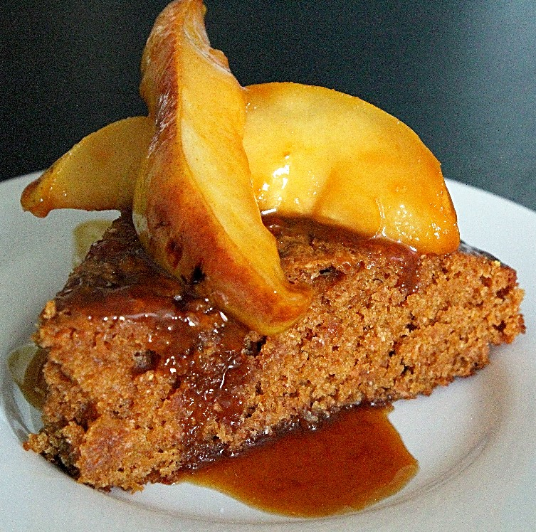 Fresh Ginger Cake with Caramelized Pears