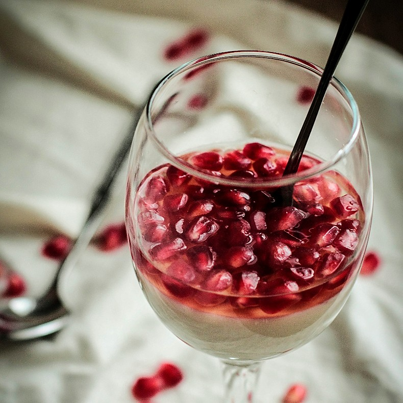 Pomegranate White Wine Panna Cotta