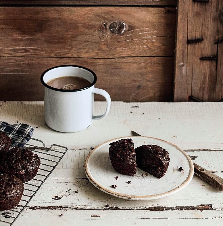 Banana Cacao Nib Buckwheat Muffins