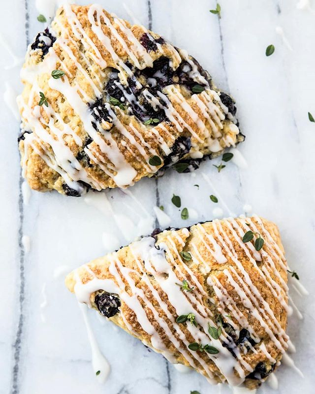 New recipe! Traditional blueberry scones are made unique with the addition of fresh thyme. Fruit & herb pairings in sweet preparations are a favorite way to use herbs from the garden. - Recipe linked in profile | @pastryaffair
