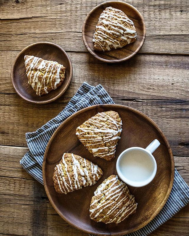 The air is crisp, the sun is shining, and all I want is one of these Maple Glazed Pumpkin Scones with a hot cup of coffee. 🍂🍁 - Recipe linked in profile | @pastryaffair