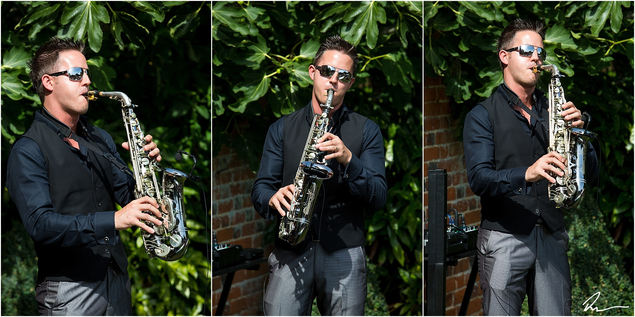 David (The Sax Walker) performing at a summer wedding at Woodhall Manor in Suffolk.