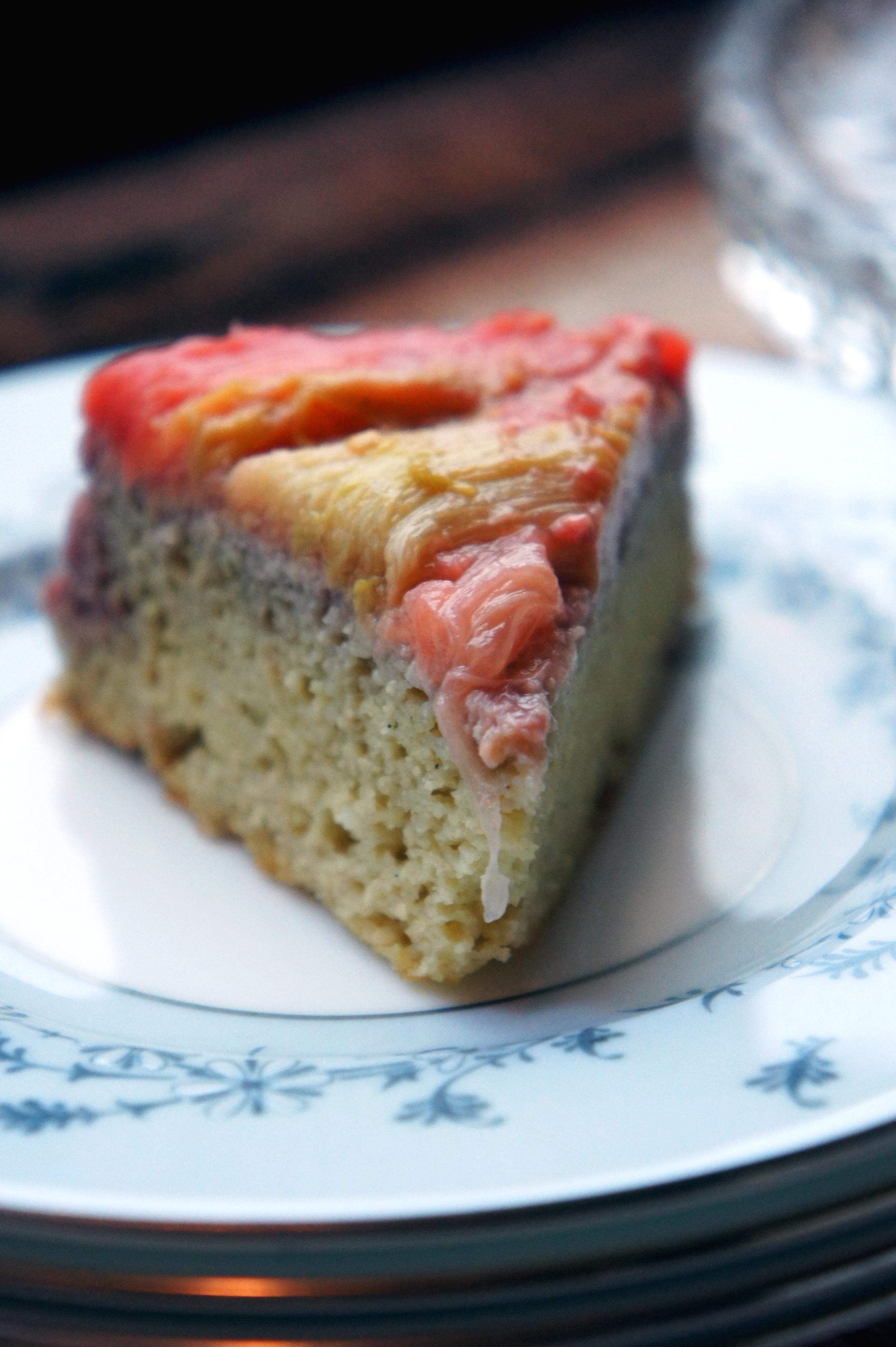 Rhubarb Cake that's paleo, gluten-free, and grain-free.
